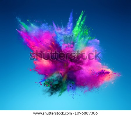 Explosion of pink and green powder. Freeze motion of color powder exploding. 3D illustration