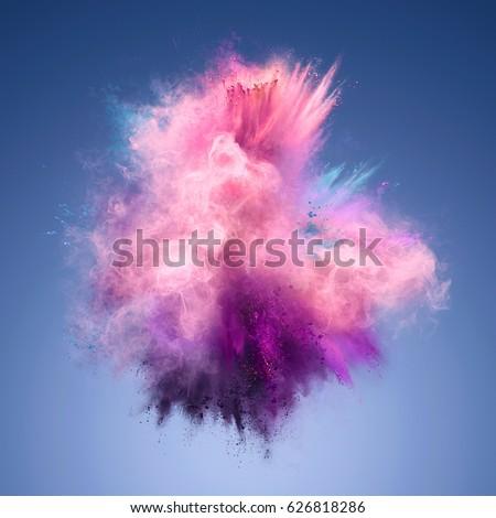 Explosion of pink, violet and blue powder. Freeze motion of color powder exploding. Illustration