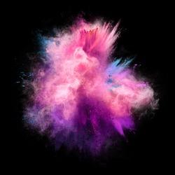 Explosion of pink, violet and blue powder on black background. Freeze motion of color powder exploding. Illustration