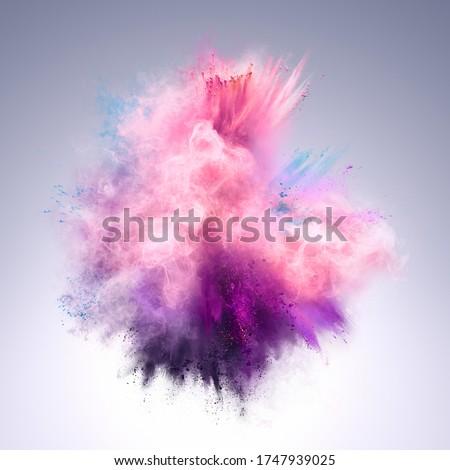 Explosion of pink, violet and blue powder on grey background. Freeze motion of color powder exploding. 3d Illustration Foto stock ©
