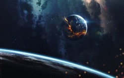 Explosion of planet, science fiction image, dark deep space with giant planets, hot stars, starfields. Incredibly beautiful cosmic landscape . Elements of this image furnished by NASA