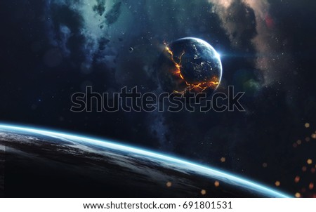 Explosion of planet, science fiction image, dark deep space with giant planets, hot stars, starfields. Incredibly beautiful cosmic landscape . Elements of this image furnished by NASA #691801531