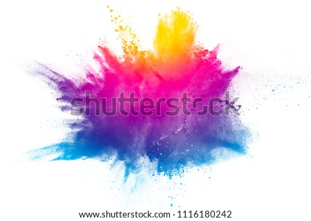 Explosion of rainbow color powder on white background. #1116180242