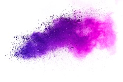 Explosion of violet colored powder on white background