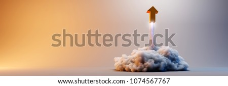 Explosion simulation with arrow sign, original 3d rendering illustration