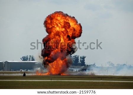 Explosion with flame and smoke at airport