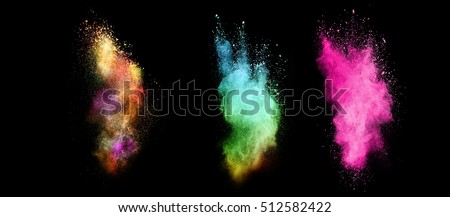 Explosions of colored powder, isolated on black background #512582422