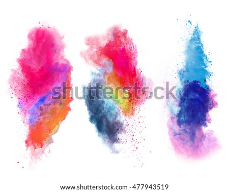 Explosions of colored powder, isolated on white background #477943519