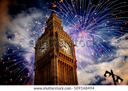 explosive fireworks around Big Ben. New Year's Eve celebration background #509168494