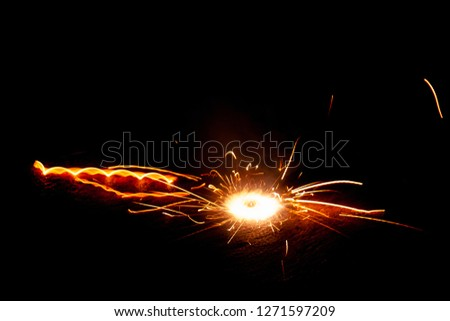 Explosive fireworks on sylvester lightens in the dark with sparks of light #1271597209