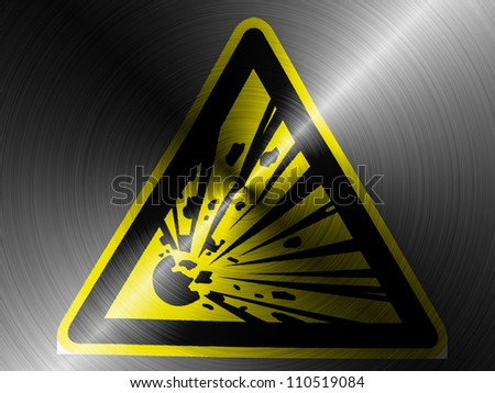 Explosive sign drawn on brushed metall