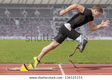 Explosive start of athlete with handicap