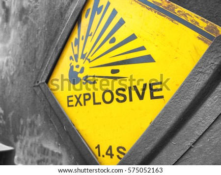 Explosive warning sign on the steel reinforce magazine carrier #575052163