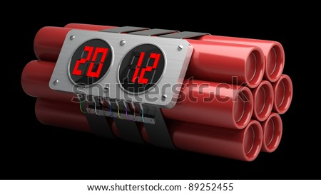 Explosives with alarm clock 2012 detonator isolated on black background High resolution 3D image