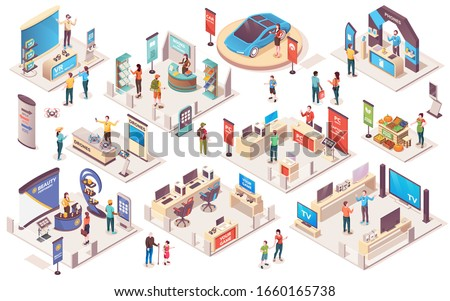Expo center and trade show exhibition product display stands, isometric icons. Promo trade exposition demo stands and showcase booth racks or information desks, visitors and consultants people