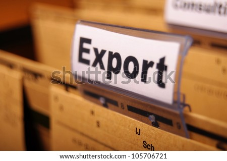 export word on business folder showing globalization trade or paperwork concept