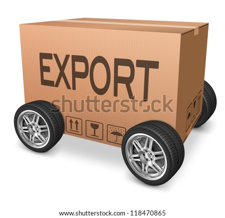 exporting freight transportation or logistics export cardboard box with text concept for international trade
