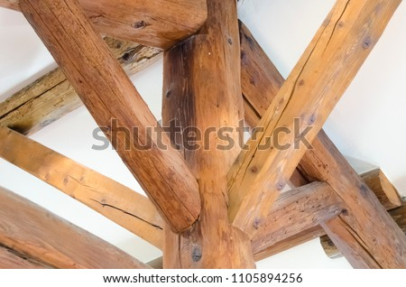exposed beams assembled, roof support #1105894256