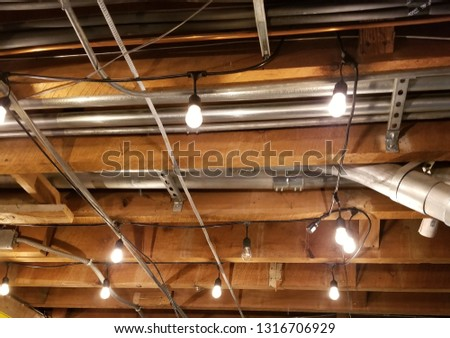 Exposed beams with lighting #1316706929