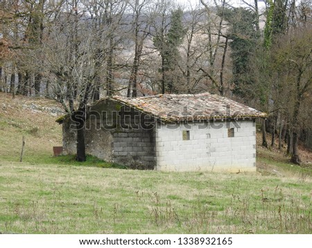 Exposed gray cement bricks barn with old and weathered red clay roof top tiles isolated in green grassland and forest trees of rural southwestern France, Haute-Garonne, Occitanie #1338932165
