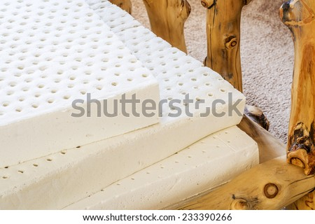 exposed layers of natural latex from an organic mattress