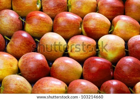 exposed, red, fresh apples as a background