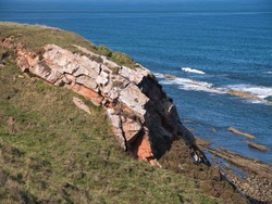 Exposed rock strata on the Northumberland Coast near Scremerston, south of Berwick-upon-Tweed - part of the Alston Formation - limestone, sandstone, siltstone and mudstone