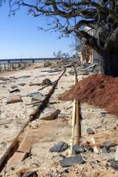 Exposed utilities from hurricane Katrina's storm surge, in Bay St. Louis, Mississippi.