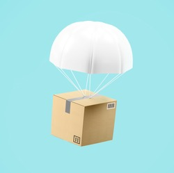 Express delivery box with parachute transportation background concept.