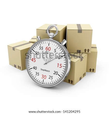 Express Delivery Concept. Cardboard Boxes with a Stopwatch isolated on white background