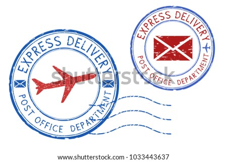 Express delivery postmarks. Grunge round blue and red ink stamps. Illustration isolated on white background. Raster version