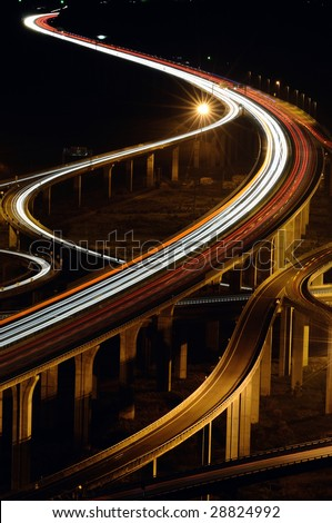 express highway interchange - stock photo