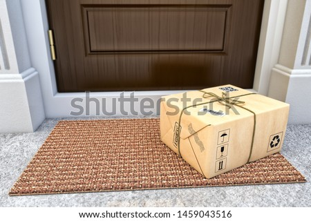Express package delivery service concept, parcel box wrapped in craft paper on the door mat near the entrance door, 3d illustration