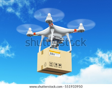 Express shipping and logistic commercial business technology concept: 3D render illustration of delivery drone or quadcopter with corrugated cardboard container box flying in the blue sky with clouds