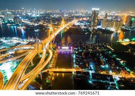 Express way modern bridge at night with light of traffic aerial view #769241671