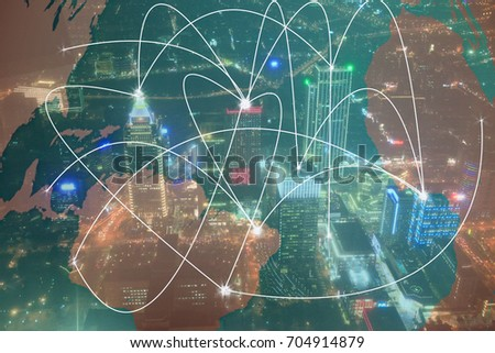 Expressing that cities in the world are connected to a network/Cities in a networked world