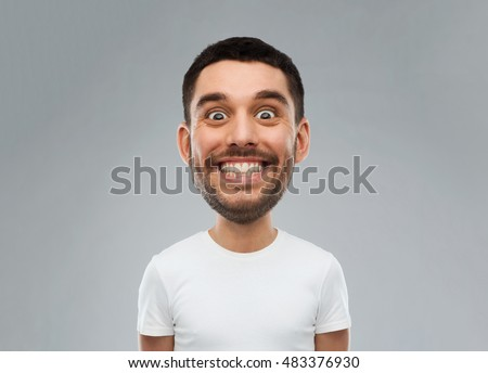 expression and people concept - smiling man with funny face over gray background (cartoon style character with big head) #483376930