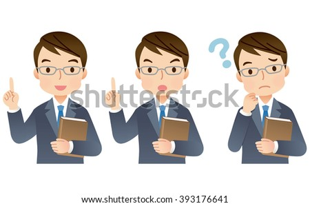 """expression of expert man with a Book """"gesture set"""""""