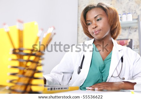 Expressions of a doctor at her office