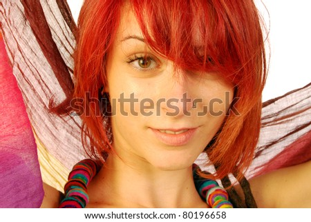 expressions of a young woman with red hair