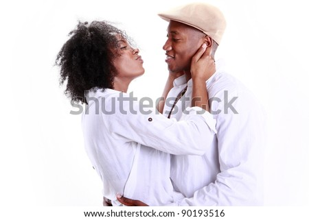 Expressions of an African American couple in love