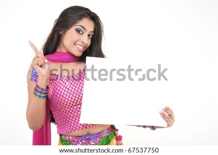 Expressive Indian Girl Holding Blank Card