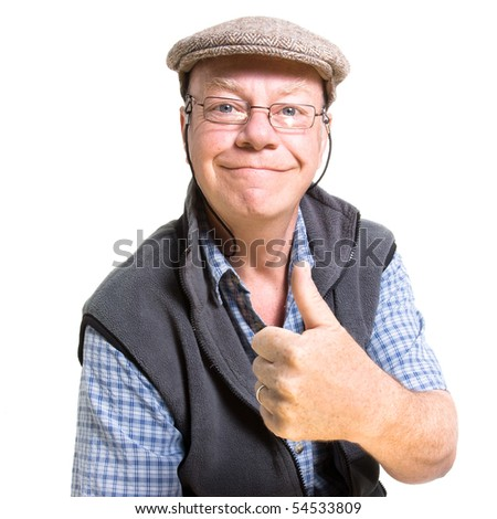 Expressive old man giving thumbs up isolated against white background.