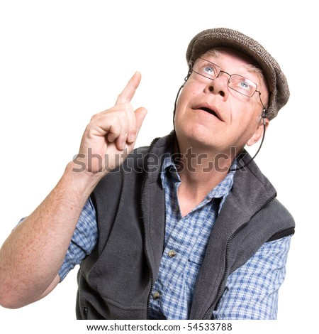 Expressive old man pointing isolated against white background.