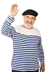 Expressive old man smiling isolated against white background.