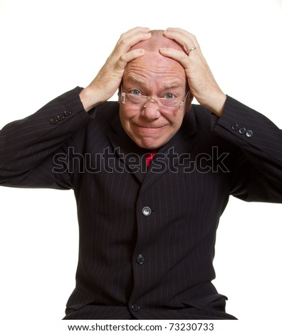 Expressive senior businessman isolated on white frustrated concept
