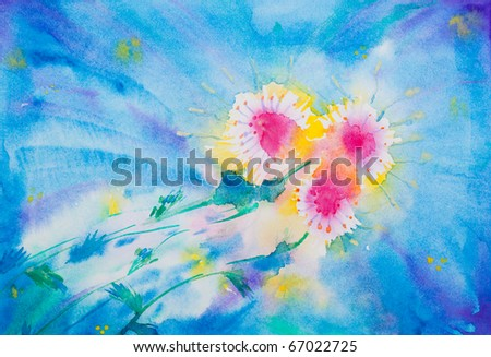 expressive watercolor illustration of red flowers over the blue background