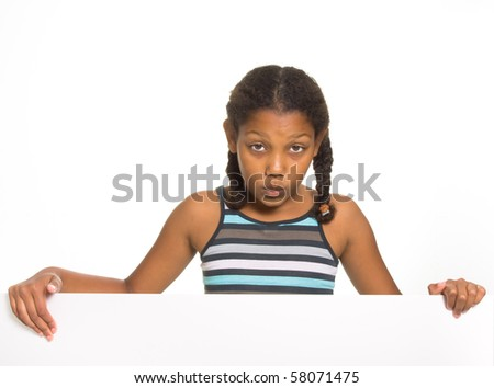 Expressive Young Mixed Race Girl holding board isolated against white background.