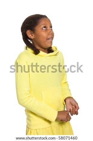 Expressive Young Mixed Race Girl isolated against white background.
