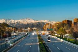 Expressway in Las Condes district with Los Andes mountain range in the back, Santiago de Chile